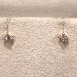 14K yellow gold 1mm each diamond earrings